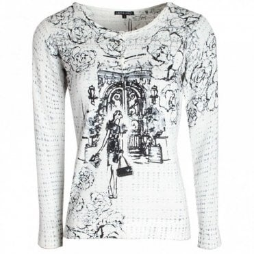 Lady Print Long Sleeve Knitted Jumper