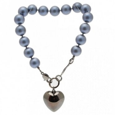 Large Pearls Silver Puff Heart Necklace