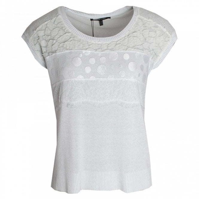 Marie Mero Laser Cut Detail Short Sleeve Top