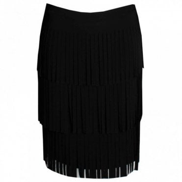 Layered Fringe Knee Length Skirt