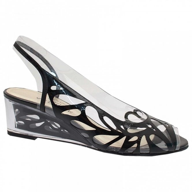 Azuree Lazer Cut Perspex Peep Toe Wedge