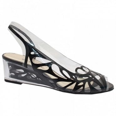 Lazer Cut Perspex Peep Toe Wedge