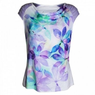 Leaf Print Sleeveless Top