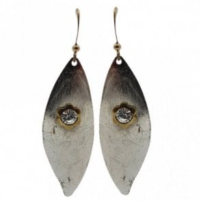 Nour London Leaf Shape Small Gem Detail Earrings