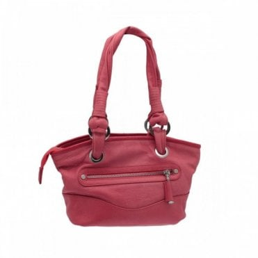 Leather Basket Weave Shoulder Handbag