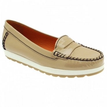 Leather Contrast Stitch Slip On Moccasin