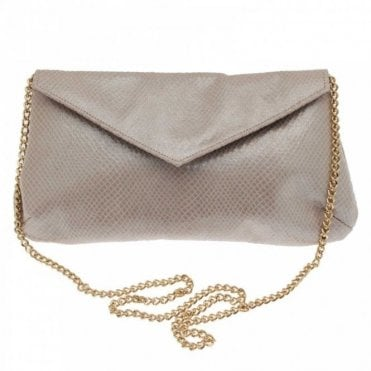 Leather Fold Over Clutch Bag With Chain