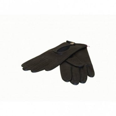 Leather Gloves With Keyhole Detail