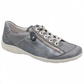 Remonte Leather Lace Up Trainer With Side Zip