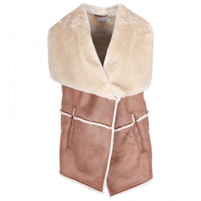 Alice Collins Leather Look Faux Fur Gilet