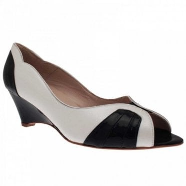 Sabrina Chic Leather Peep Toe Wedge Heel Shoe