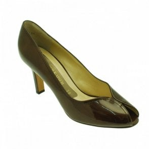 Leather Peeptoe High Heel Court Shoe
