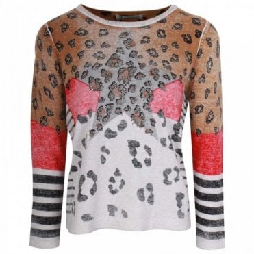 Leopard Print Design Knitted Jumper