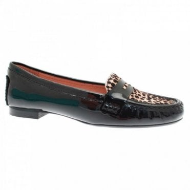 Leopard Print Panel Patent Moccasin