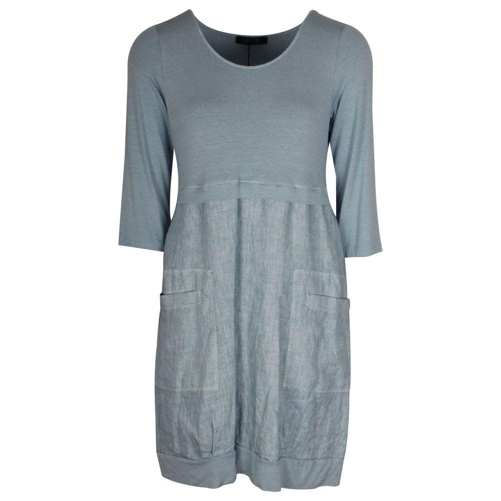 Lightweight Blue 3/4 Sleeve Summer Dress By Latte At Walk