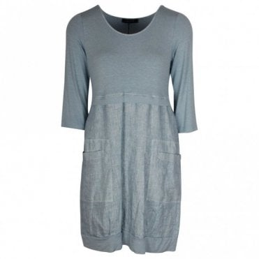 Latte Lightweight Blue 3/4 Sleeve Summer Dress