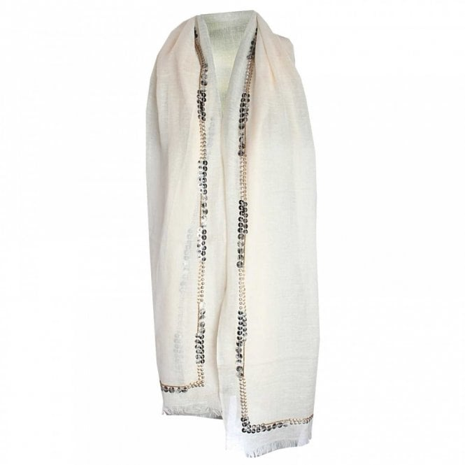 Marie Mero Lightweight Long Sequin Trim Scarf