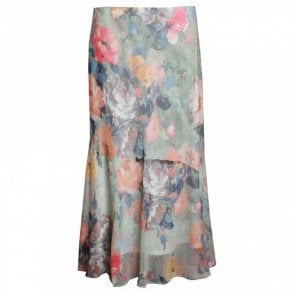 Lightweight Waterlily Print Panel Skirt