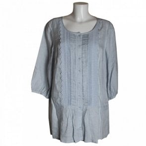 Linen Shirt With Pleat And Button Detail