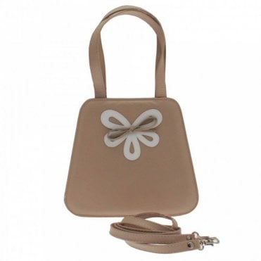Little Beige Contrast Bow Clutch Bag