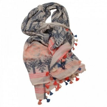 Ombre Long Aztec Design Woven Tassel Scarf