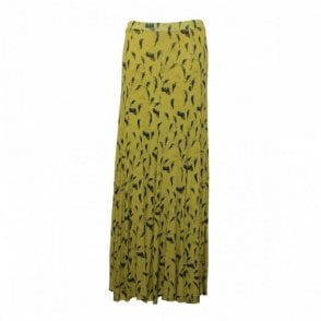 Long Flare Panel Printed Jersey Skirt
