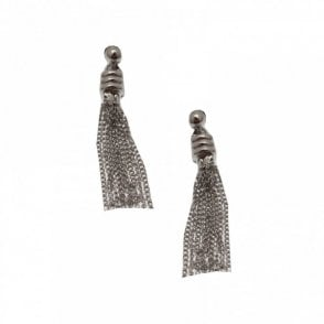 Nour London Long Multi Chain Tassel Drop Earrings
