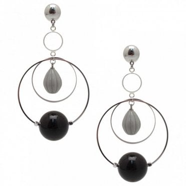 Nour London Long Resin Circle Earrings