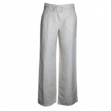 Long Silk And Linen Trousers With Belt
