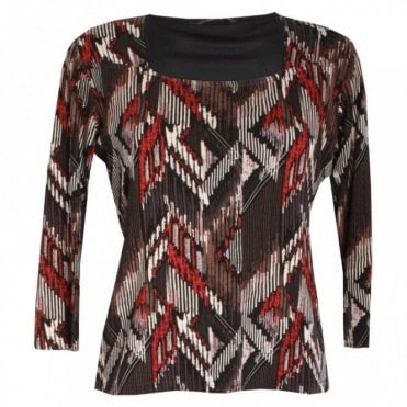 Long Sleeve Aztec Print Jersey Top
