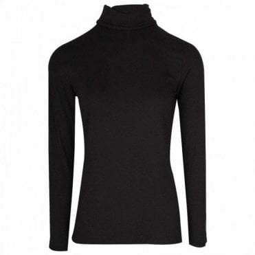 Latte Long Sleeve Black Polo Neck Top