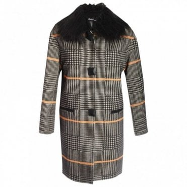 Long Sleeve Checked Coat With Fur Collar