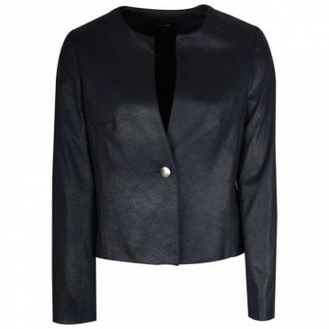 Long Sleeve Collarless Navy Blue Jacket