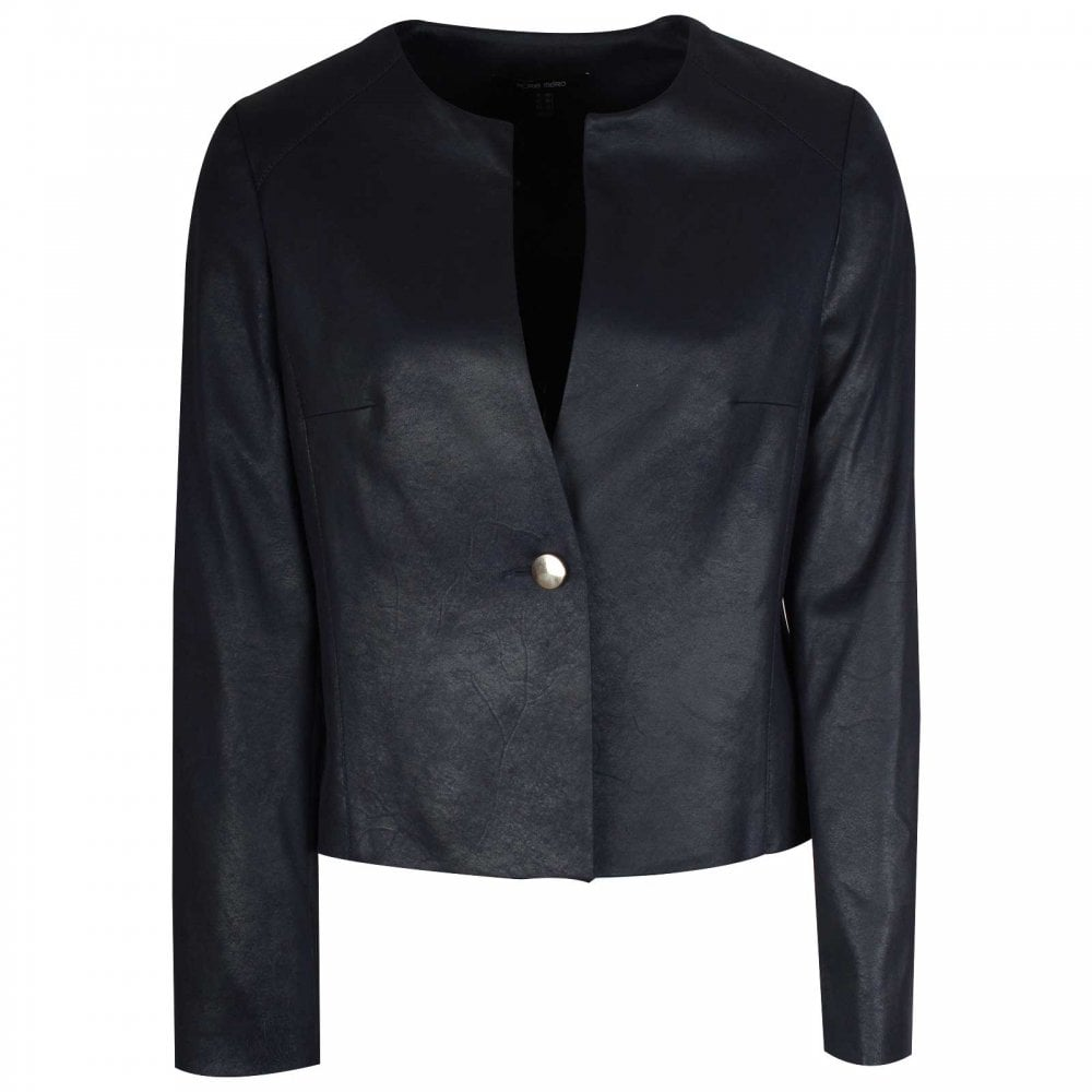 Navy Blue Collarless Long-Sleeve Jacket Blazer