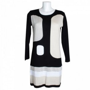 Long Sleeve Contrast Panel Knitted Dress