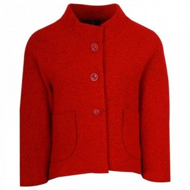 Latte Long Sleeve Cropped Red Wool Jacket