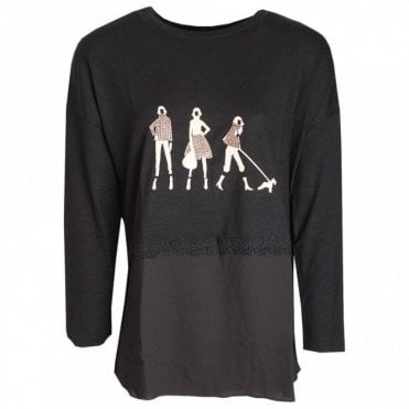 Long Sleeve Dog Walker Print Top