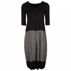 Latte Long Sleeve Dress Check Design Skirt