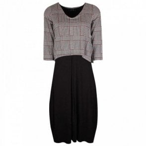 Latte Long Sleeve Dress With Checked Overlay