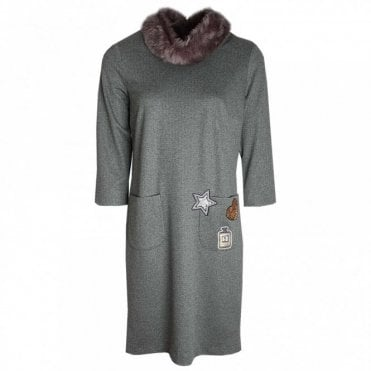 Marie Mero Long Sleeve Dress With Faux Fur Collar