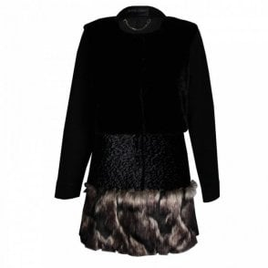 Long Sleeve Faux Fur Panelled Coat