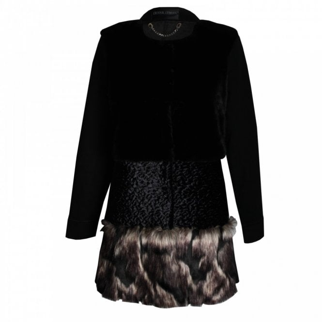 Frank Lyman Long Sleeve Faux Fur Panelled Coat
