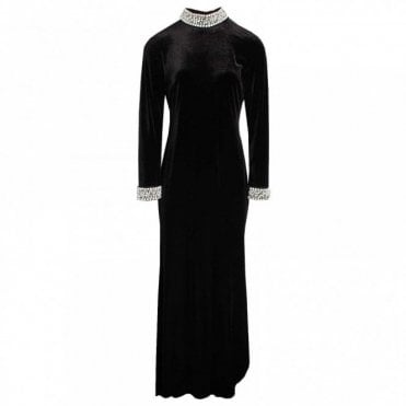 Long Sleeve Full Length Velvet Dress