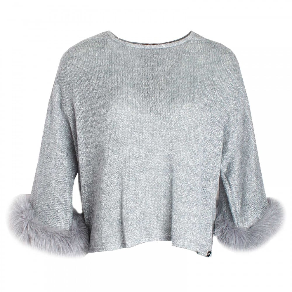 Long Sleeve Fur Cuff Knitted Jumper By Paola Collection At