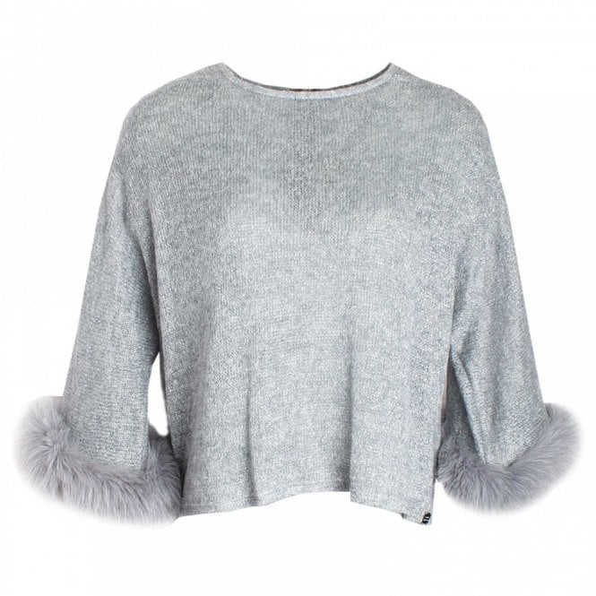Paola Collection Long Sleeve Fur Cuff Knitted Jumper