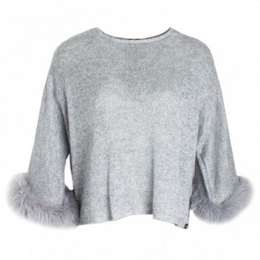 Long Sleeve Fur Cuff Knitted Jumper