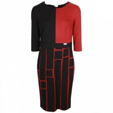 Long Sleeve Geometric Design Dress