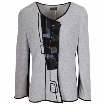 Long Sleeve Grey Knitted Cardigan