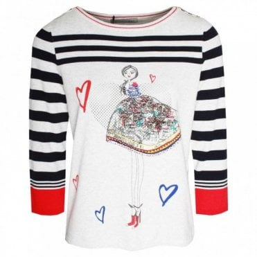 Long Sleeve Hearts & Stripes Jumper
