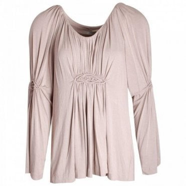 Gustav Long Sleeve Jersey Tunic With Pleating